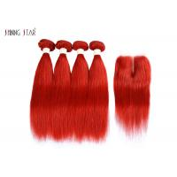 China Brazilian Bright Red Straight Hair Bundles With Closure Can Be Dyed / Permed on sale