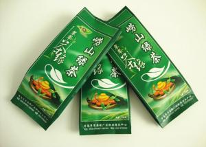 China Customized Green Tea Sealed Packaging Bags Foil Gusseted Zipper Top on sale