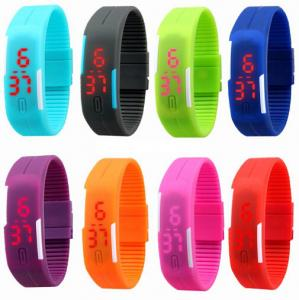 China Ultra Thin Sport Digital Led Bracelet Watches In Hard PU Material, Customized Logo On The Buckle on sale