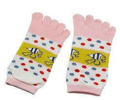 China Healthy Cute Cotton Five Fingers Ankle Toe Socks WIth Bee Pattern,Colorful Dot for Ladies on sale