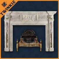 Stone Carved Marble Indoor Fireplace Mantel Elegant For Decoration