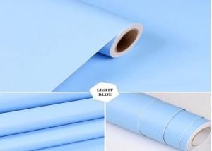 China LIGHT BLUE Solid Color Self Adhesive Wallpaper For Fashionable Hotel Decoration on sale