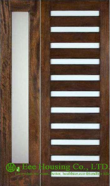 Prehung Solid Timber Entry Door With Frosted Glass Pu Painted For