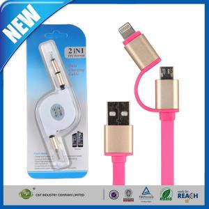 China 2in1 Micro Cell Phone USB Cable Sync Data Charging Flat Noodle For Samsung / Iphone on sale
