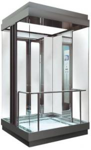 China MRL Square Glass Observation Elevator Center Opening Type With Fuji Control System on sale