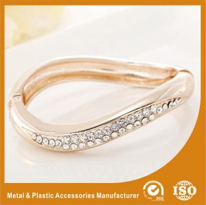 China Small Rhinestone Solid Silver Metal Bangles For Girls Jewellery on sale