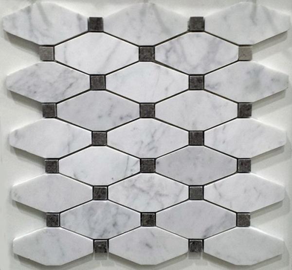 White And Grey Slate Stone Mosaic Tile Diamond Carrera Venato Marble