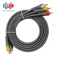 RCA cable with 2 x RCA Male and 1 x 3.5mm Stereo Female, Customized specifications are welcome