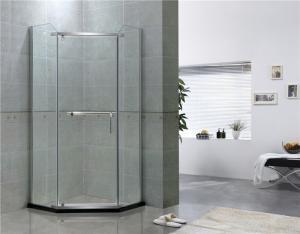 China Mirror Color Pivot Shower Enclosure Diamond Shape Tempered Glass Shower Doors on sale