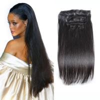 China Color #1 Black Hair Clip In Human Hair Thick 7 Pieces 14 Clips Brazilian Human Hair Extension on sale