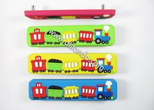 China Environmental soft pvc handles custom with train car image cartoon children room door knobs custom on sale