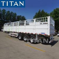 China TITAN Stake Semi Trailer Side Loading Animals Transport Cage Semi Trailer on sale
