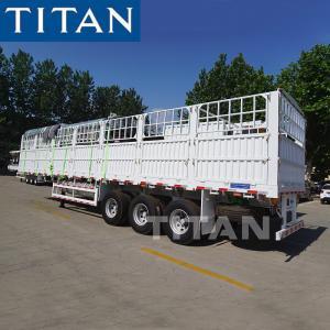 China TITAN Stake Semi Trailer Side Loading Animals Transport Cage Semi Trailer on sale