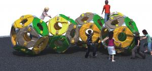 China Spherical Freestanding Playground Equipment Climber Theme Consist Of Five Plastic Sphere on sale