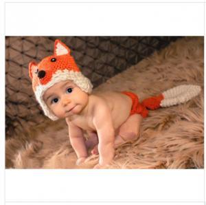 c6306022e0b ... Quality orange Fox baby hat cap Baby Photography Prop Crochet Hats  underwear Animal Hat for sale