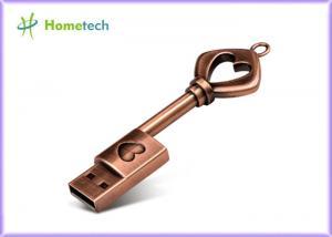 China Key Pen Drive 64GB 32GB Metal Bronze Heart Key Flash Drive USB 2.0 Pendrive Memory Stick Drives 16GB 8GB 4GB Usb Flash on sale