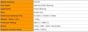 Quality Single Row 522380 Truck Wheel Bearings 50.8mm X 100mm X 35mm for sale