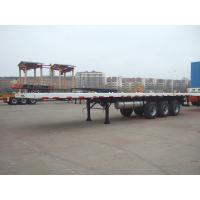China 40T Capacity 3 Axles 40ft Super Single Tire Light Weight Semi Flatbed Container Truck Tailer on sale