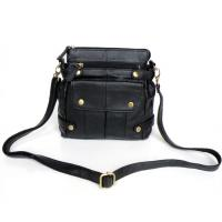 New Style Black Real Leather Trendy Unique Shoulder Messenger Bag #2013