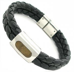 China Custom size black or coffe negative ion magnetic leather bracelet with stainless steel on sale