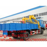 China factory direct sale best price CLW truck with boom crane, Hot sale dongfeng 170hp 6tons truck with folded crane on sale
