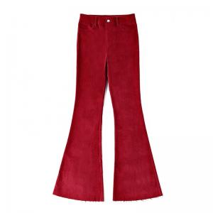 China Retro Style Casual Loose Red Corduroy Pants For Womens Zipper Fly For Autumn on sale