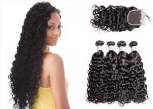China Tight Water Wave Weave Bundles With Closure Full Of Resilience 30 Inches on sale