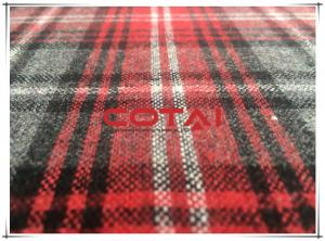 China One Sided Thin Flannel Tartan Wool Fabric Red Gray Medium 5cm 11cm Plaid 30w on sale