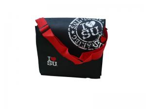 China Customized 100g Non Woven Carry Bag With Matt Lamination, Red Nylon Trap, PVC Buckle on sale