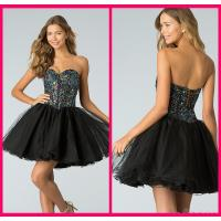 Black Tulle Short Long Homecoming Dresses With Crystal Gowns Lace Up