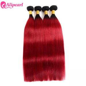 China Brazilian Ombre Hair Weave 4 Bundles 1B Red Straight Virgin Colored Hair on sale