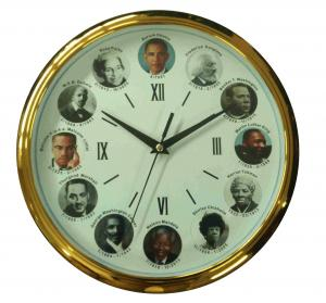 China Famous President Wall Clock Quartz Analog Plating Gold Waterproof Plastic Frame on sale