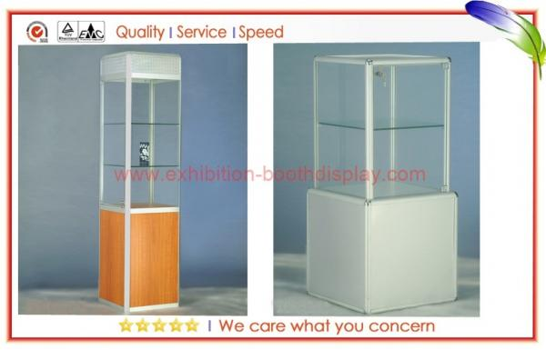 Portable Exhibition Display Cases : Trade show aluminium glass display cabinets portable with glass