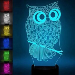 China China Supplier  3D Illusion  Cartoon Owl Kids Multicolor  LED Bedside Night Light Lamp for Kids Gifts on sale
