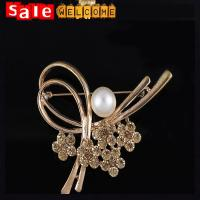 Pearl Bow Brooches For Dresses Scarf Pin Lapel Pins Crystal Brooch For Wedding Jewelry