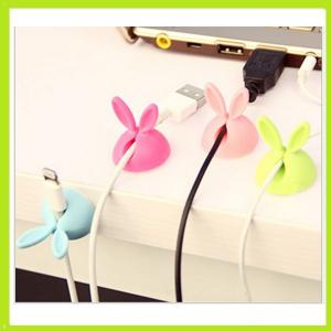 China cute rabbit silicone holder of cable drop clip on sale