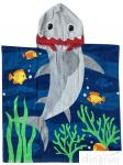 60 X 120cm Children ' S Poncho Beach Towels Soft Feeling With Cotton Material