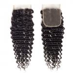 Peruvian Deep Wave Virgin Human Hair Bundles 4 X 4 Lace Closure