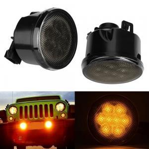 China Firebug Amber LED Turn Signal Light Smoke Lens Front Grill for Jeep Wrangler JK on sale