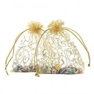 China Yellow Mesh Jewelry Bags , Drawstring Jewelry Pouch  Gold Silk Screen Printing on sale
