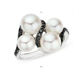 China Diamond and Cultured Freshwater Pearl 14K White Gold Ring on sale