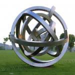 Matt Surface Ball Annular Metal Sculpture Stainless Steel As Lawn Ornament
