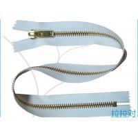Long Metal 8# Golden Big Teeth Zipper Close End White Tape For Garment / Textile