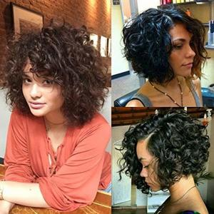 China Brazilian Short Bouncy Curly Human Hair Full Lace Wigs with Baby Hair for Black Women Natural Color on sale