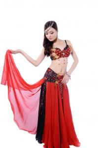 China Layered flower bellydance costume with shinning diamonds colorful on sale
