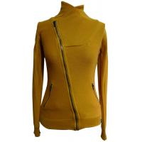 China Yellow High Collar Cotton Womens Knit Sweaters Short Jacket For Autumn on sale