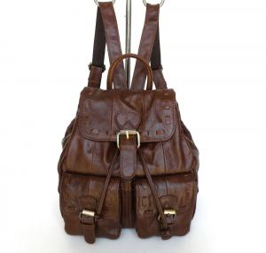 China Factory Price Trendy Style Vintage Tan Leather Backpack Shoulder Bag #3018R  on sale