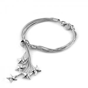 China Genuine Solid Sterling Silver Charm Five Stars Pendant Chain Bracelet 8 B047 on sale