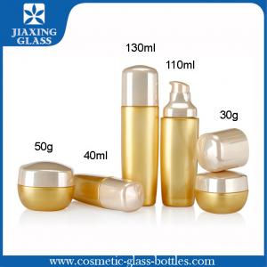 China Silk Screen Printing Gold Cosmetic Glass Bottles / Plastic Lotion Pump Bottle on sale