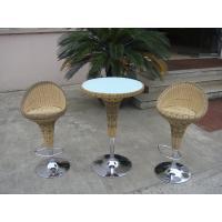 Pool Resin Wicker Bar Set , Outdoor Garden Rattan Bar Furniture